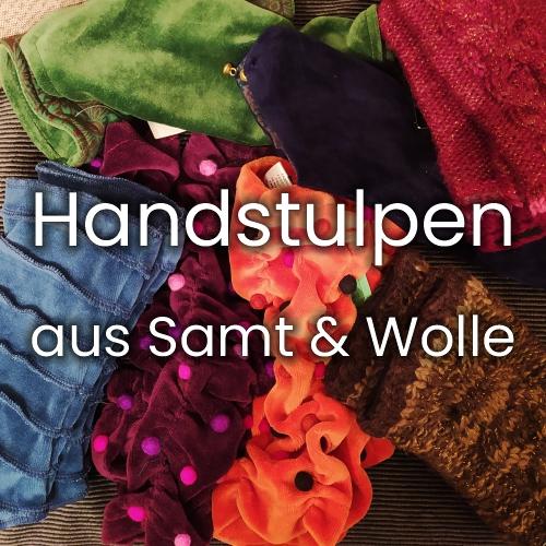 Handstulpen aus Samt und Wolle