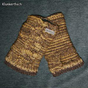 Handstulpen aus Wolle in Braun mit Glitzer
