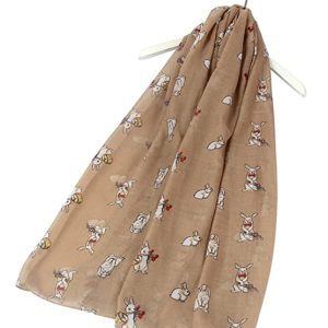 Leichtes Schal-Tuch mit Osterhasen in Beige