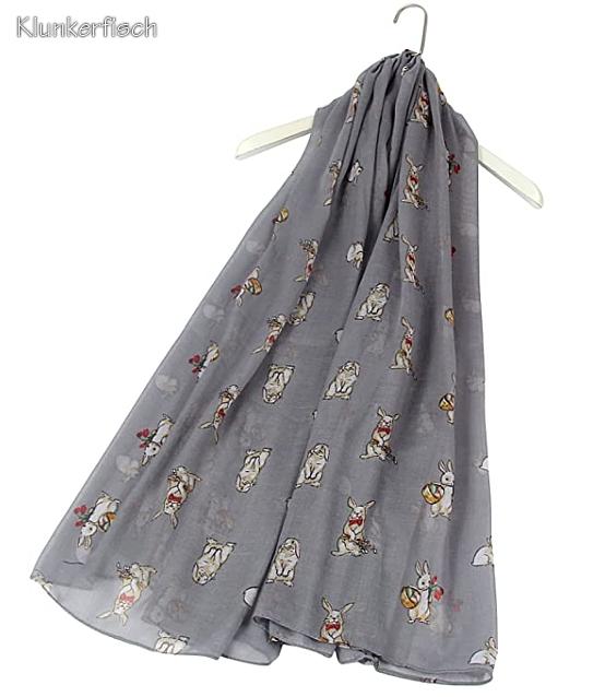 Leichtes Schal-Tuch mit Osterhasen in Grau