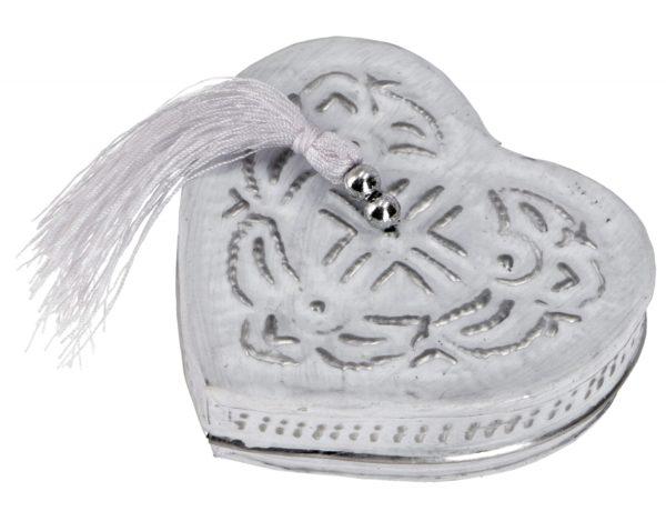 Kleine Blechdose *Herz* in Weiß mit Quaste