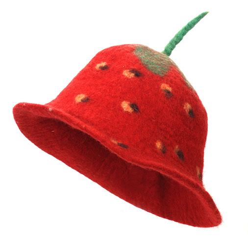 Lustiger Filz-Hut *Erdbeere*