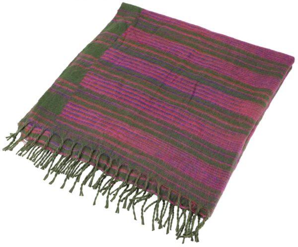 Kuschelweicher großer Schal / Plaid in Pink und Grün