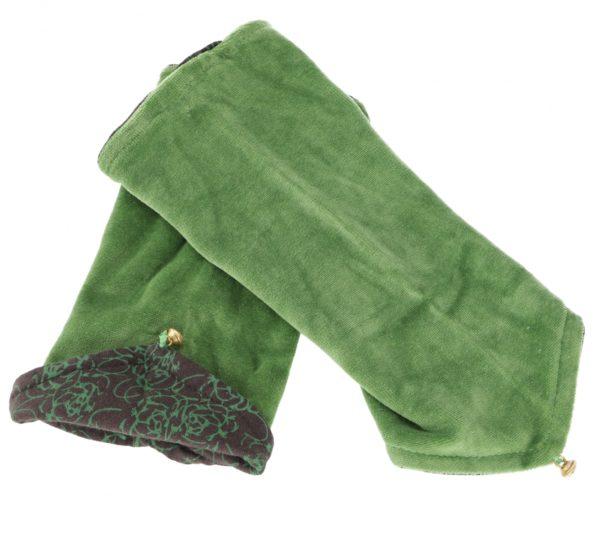 Handstulpen aus Samt in Grün