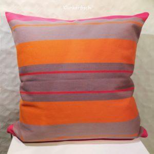 Kissenhülle mit Blockstreifen in Orange und Grau