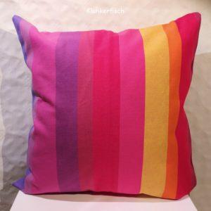 Kissenhülle mit Blockstreifen in Pink und Violett
