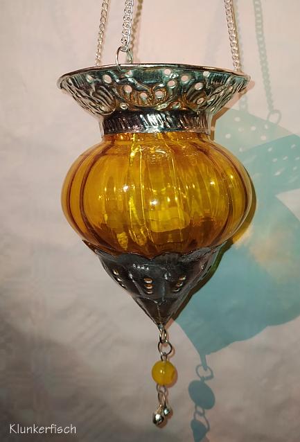 Orientalisches Windlicht / Laterne in Gelb