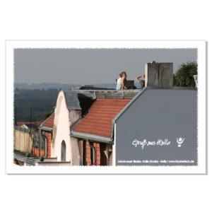 Postkarte von Halle: Blick über die südliche Innenstadt in Richtung Marktplatz