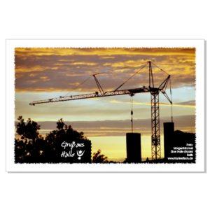 Postkarte von Halle: Morgenrot über der Pfännerhöhe