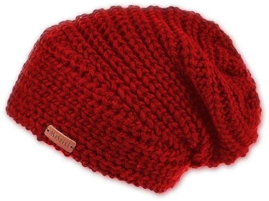 Grob gestrickte Beanie-Mütze in Rot