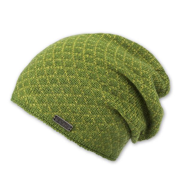 Grüne Beanie-Mütze mit gelbem Karo-Muster
