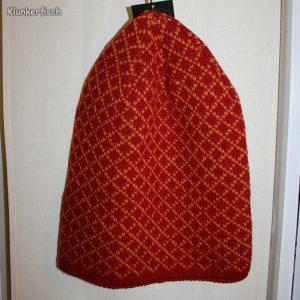 Rote Beanie-Mütze mit gelbem Karo-Muster