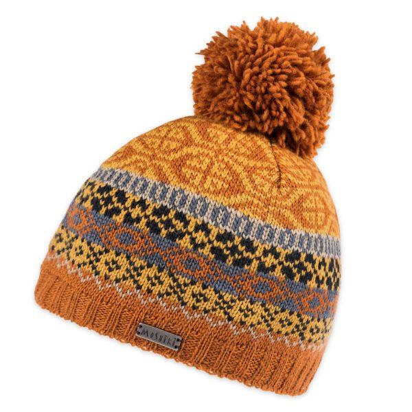 Mütze aus Wolle in Gelb mit Bommel