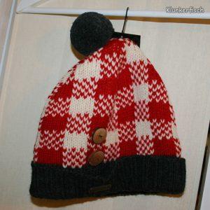 Mütze aus Wolle in Rot-Weiß-Kariert und mit Bommel