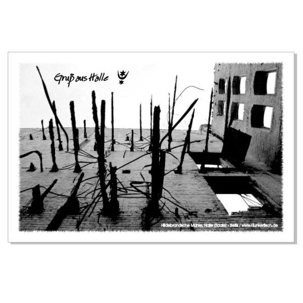 Postkarte von Halle: Böllberger Mühle