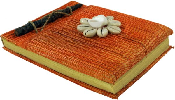 Notizbuch in Orange mit Muschel-Dekoration
