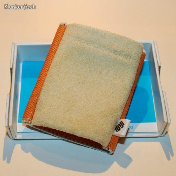 Space Wallet: Mini-Portemonnaie in Beige und Orange