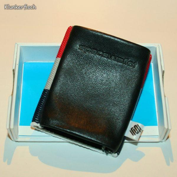 Space Wallet: Mini-Portemonnaie in Schwarz mit Blockstreifen