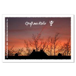 Postkarte von Halle: Abendhimmel über dem Akazienhof