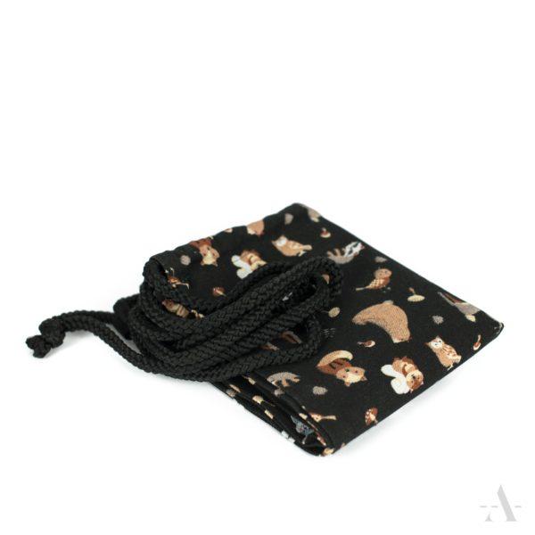 Kleiner Rucksack / Turnbeutel mit Tieren in Schwarz