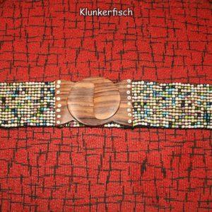 Stretch-Gürtel mit Glasperlen und Holz-Schließe in Weiß-Grün-Türkis