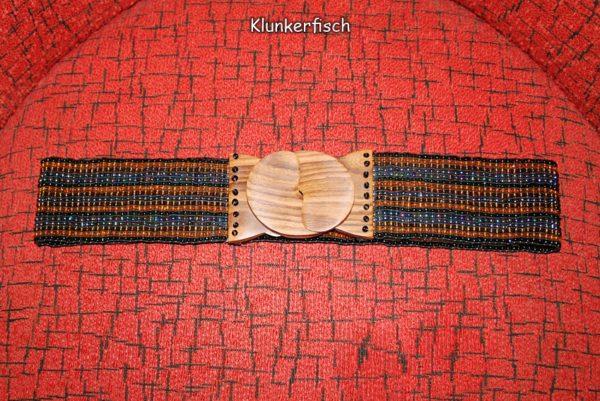 Stretch-Gürtel mit Holz-Schließe und Glasperlen in Schwarz-Braun