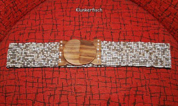 Stretch-Gürtel mit Glasperlen und Holz-Schließe in Silber-Weiß