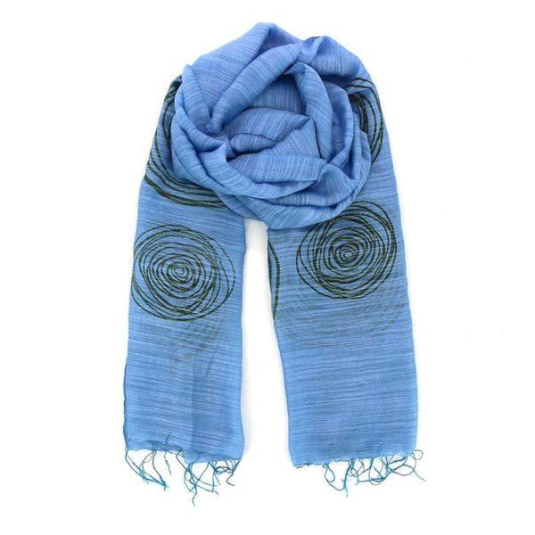 Himmelblaues Schal-Tuch aus Seide und Viskose