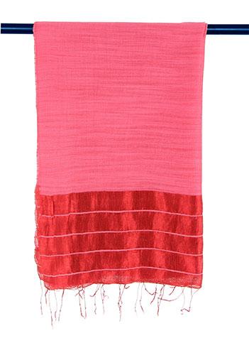 Hellrotes Schal-Tuch aus Seide und Leinen