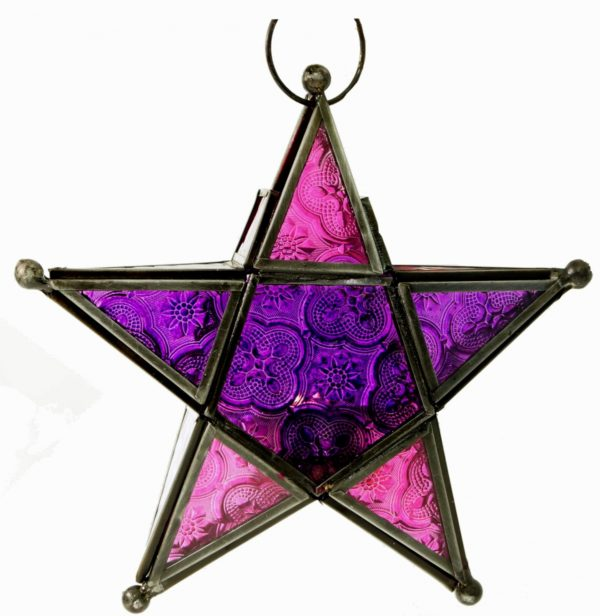 Windlicht / Laterne *Stern* in Pink-Violett