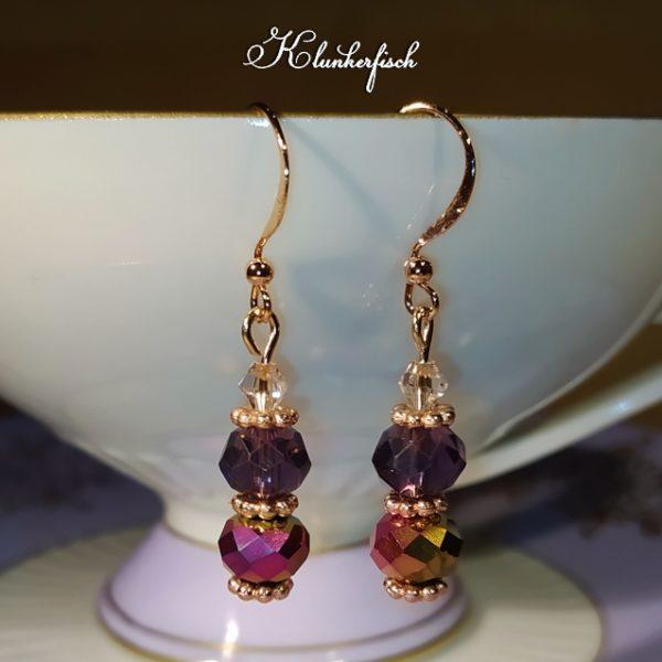 Glitzernde Bridgerton-Ohrringe in Pink und Violett