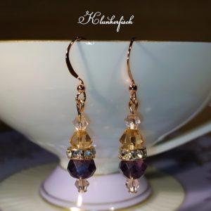 Glitzernde Bridgerton-Ohrringe in Rosa und Violett mit Strass