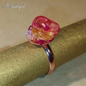 Bridgerton-Ring mit gelb-rotem Blümchen