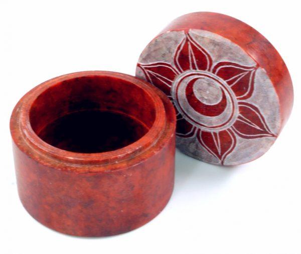 Schmuckdöschen aus Speckstein in Rot