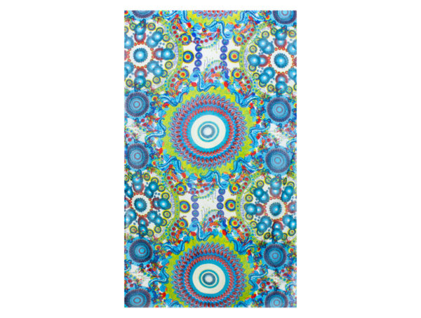 Tuch aus Viskose mit Kreisen und Blumen in Blau
