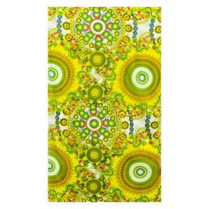 Tuch aus Viskose mit Kreisen und Blumen in Gelb