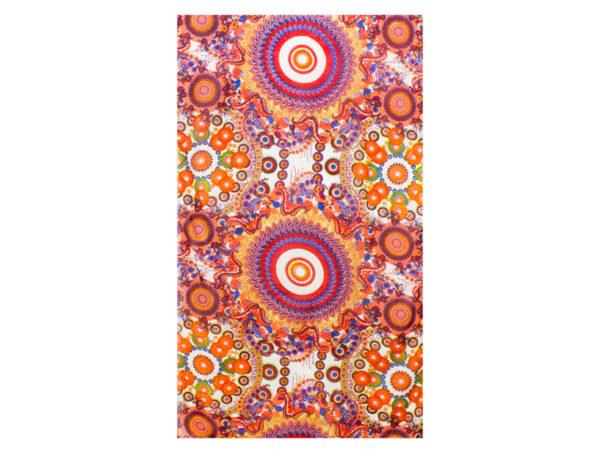 Tuch aus Viskose mit Kreisen und Blumen in Pink-Orange
