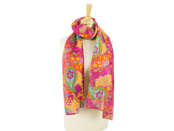 Paisley-Tuch aus Viskose in Pink