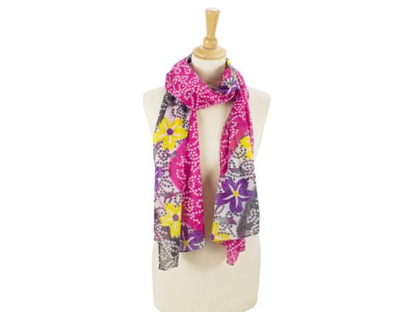 Sommerliches Tuch aus Baumwolle in Pink und Dunkelblau