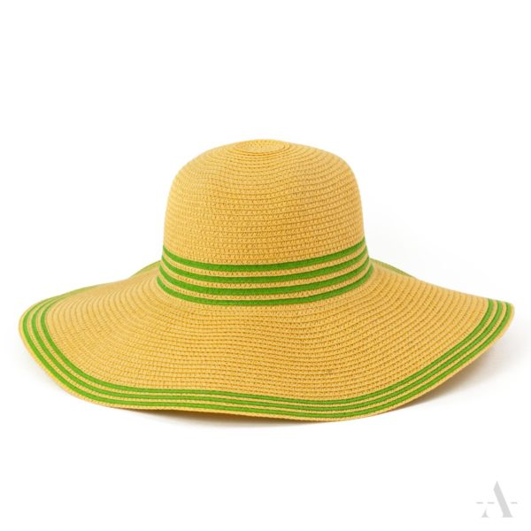 Sommer-Hut in Gelb mit grünen Streifen