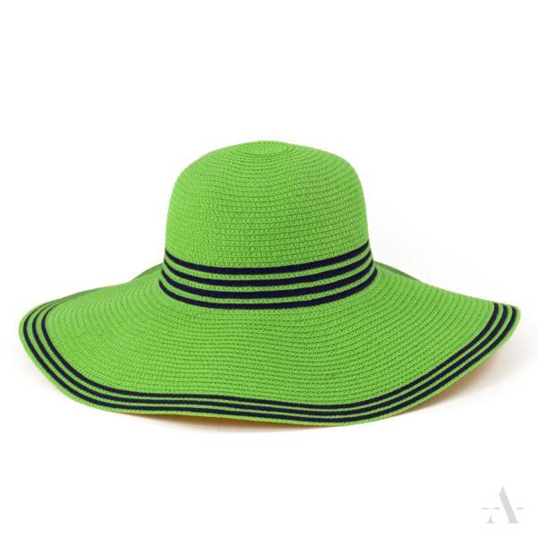 Sommer-Hut in Grün mit blauen Streifen