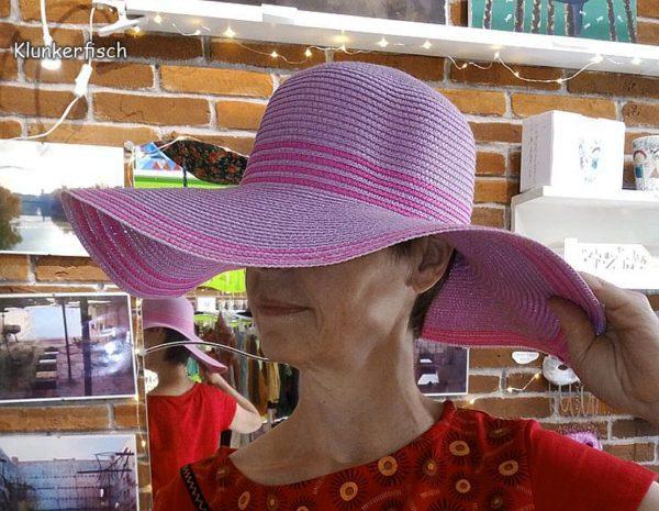 Sommer-Hut in Lila mit pinken Streifen