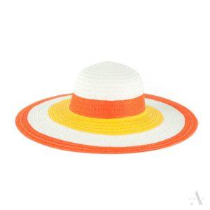 Sommer-Hut in Orange, Weiß und Gelb