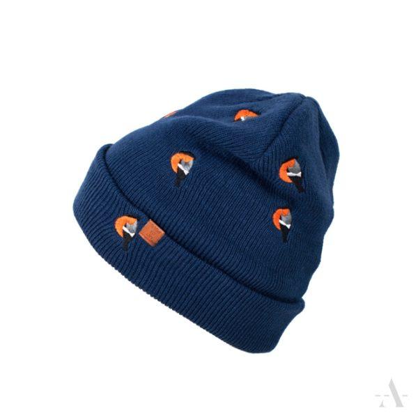 Lustige Mütze mit aufgestickten Vögeln in Blau