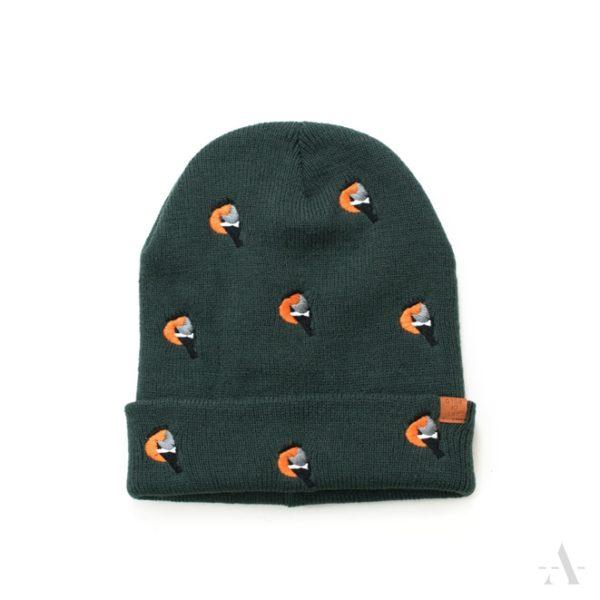 Lustige Mütze mit aufgestickten Vögeln in Oliv