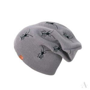 Lustige Mütze mit aufgestickten Käfern in Grau