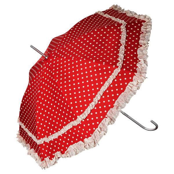 Regenschirm / Stockschirm mit Punkten und Rüschen