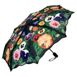 Regenschirm / Taschenschirm mit Stiefmütterchen