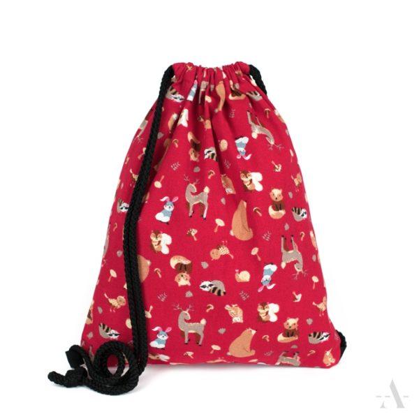 Kleiner Rucksack / Turnbeutel mit Tieren in Rot