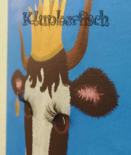 Acrylbild *Klunkerkuh* - eine Kuh-Prinzessin mit Krone und echten Wimpern
